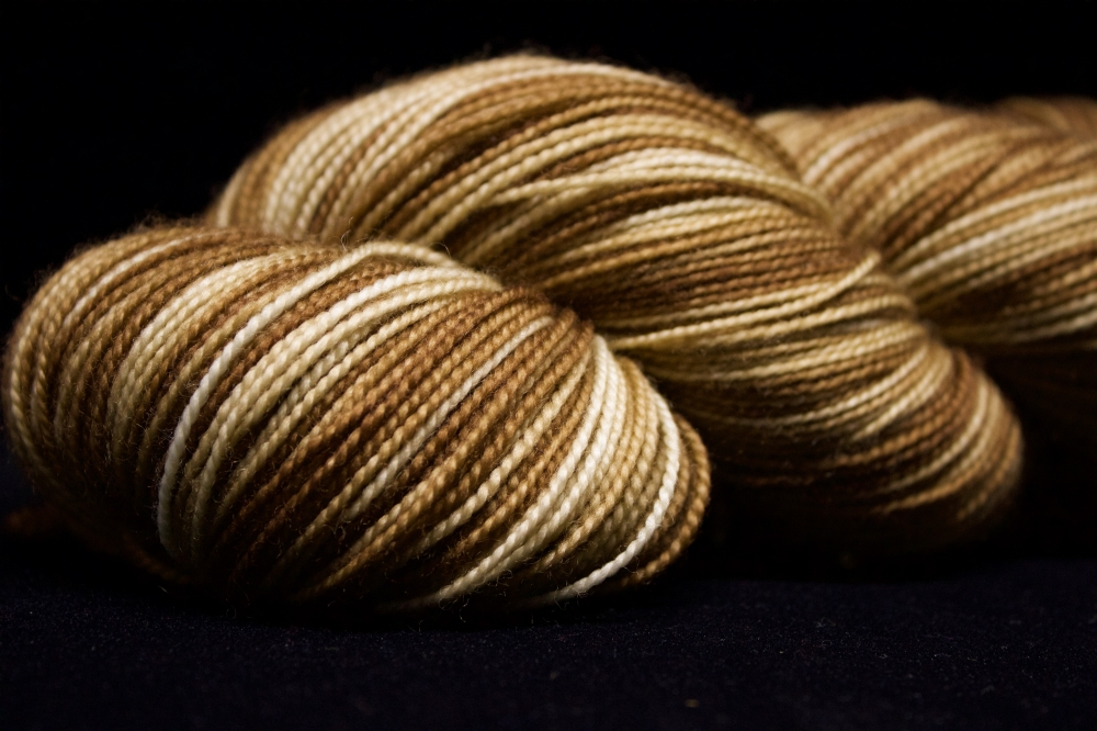 "Colorway ""Honey"" using a dip-dyed technique"