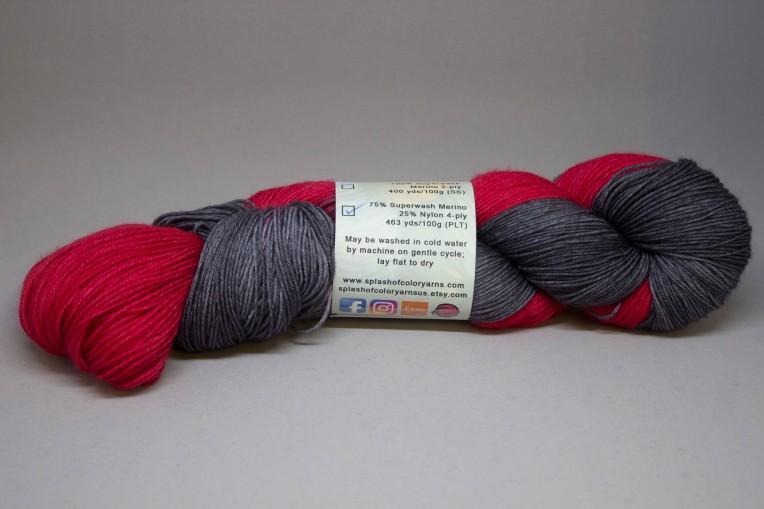 label on red/gray yarn