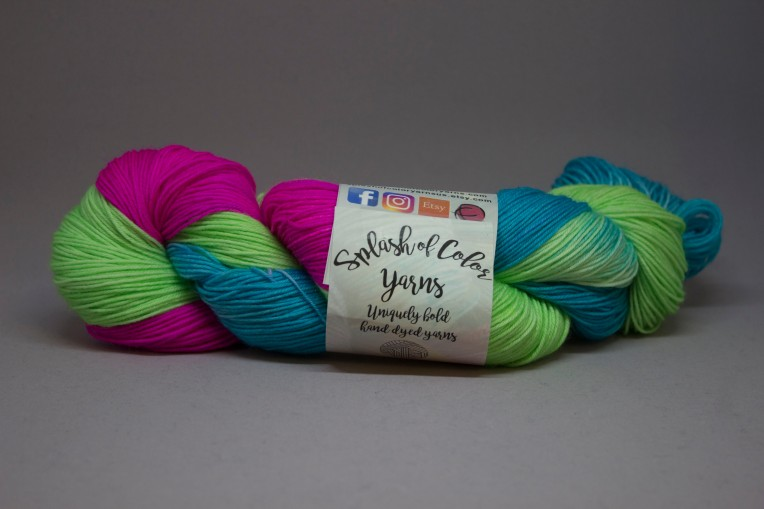 lime green, turquoise, and bright pink yarn
