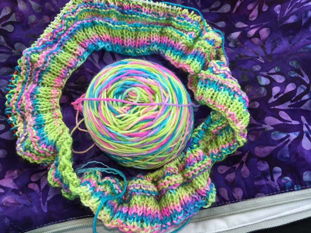 Fenceline Cowl in progress with bright yarn