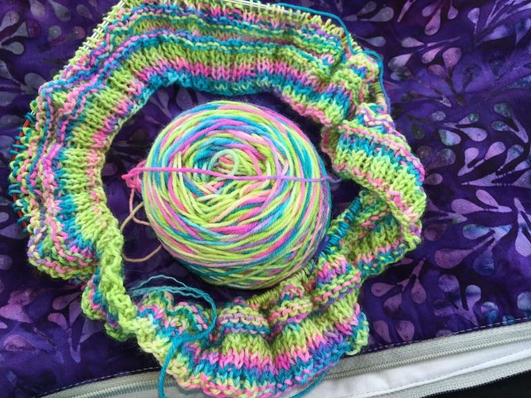 Fenceline Cowl in progress with bright yarn