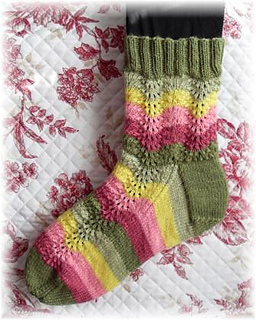 Peace Rose Socks - 400 - 425 yards (366 - 389 m) https://www.ravelry.com/patterns/library/peace-rose-garden-socks
